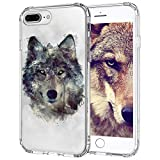 MOSNOVO iPhone 7 Plus Case, iPhone 8 Plus Clear Case, Wolf Clear Design Printed Transparent Plastic Back Phone Case with TPU Bumper Case Cover for Apple iPhone 7 Plus (2016) / iPhone 8 Plus (2017)