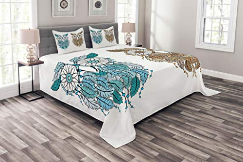 Ambesonne Owl Bedspread Set King Size, Dreamcatcher Style Ow