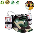 Drink Helmet Party Soda Cola Holder Hat Lazy Beer Cap with Straw Game Toy Green Camouflage