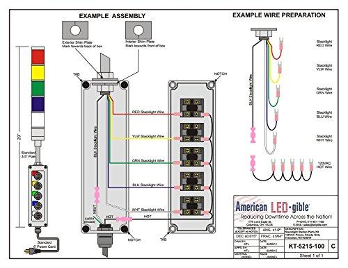 LED Tower Light Station Kit, LED Andon Light Kit KT-5212-100, LED Stacklight Kit, 120V, Red/Green, Off/Steady