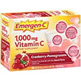 Emergen-C (30 Count, Cranberry-Pomegranate Flavor, 1 Month Supply) Dietary Supplement Fizzy Drink Mix with 1000mg Vitamin C, 0.30 Ounce Packets, Caffeine Free