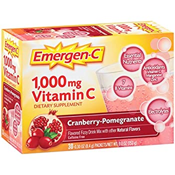 Emergen-C (30 Count, Cranberry-Pomegranate Flavor, 1 Month Supply) Dietary Supplement Fizzy Drink Mix with 1000mg Vitamin C, 0.30 Ounce Packets, ...