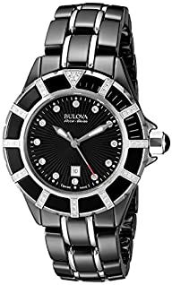 Bulova Accu Swiss Women's 65R156 Diamond  Black Watch