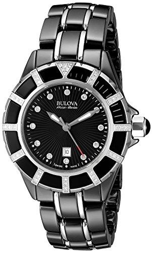 Bulova Accu Swiss Women's 65R156 Diamond  Black Watch