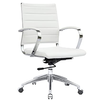 Amazon.com: Modern Contemporary Office Chair, White, Leather ...