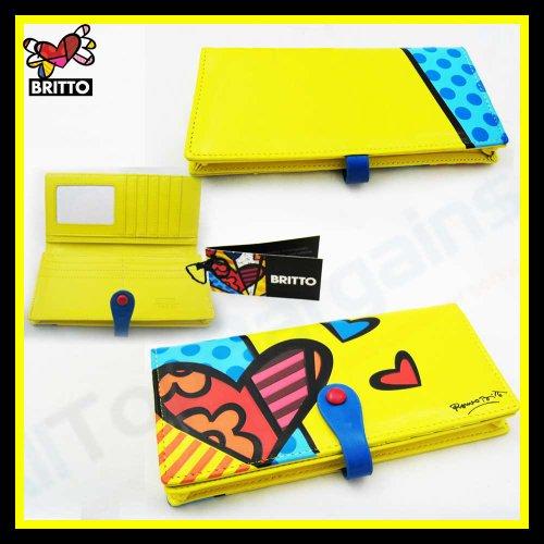 Romero Britto-Long Mesdames sac à main/portefeuille jaune motif cœurs
