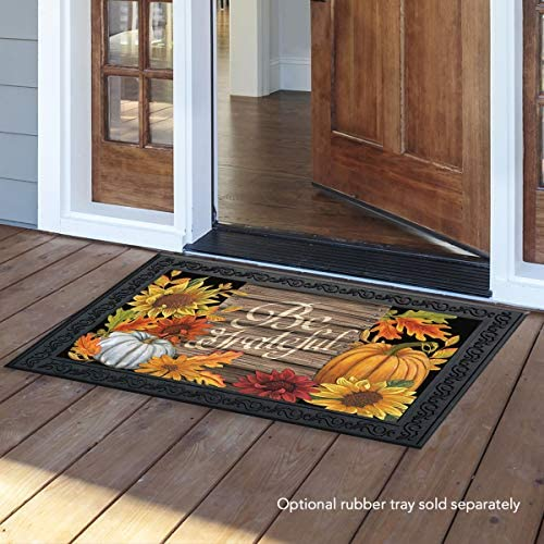 Briarwood Lane Be Grateful Thanksgiving Doormat Fall Floral Pumpkin Indoor Outdoor 18 x 30