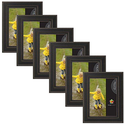 Frame 5x7 Rectangle Photo (DesignOvation 209133 Kieva Solid Wood Distressed Picture Frame (Set of 6), 5 x 7