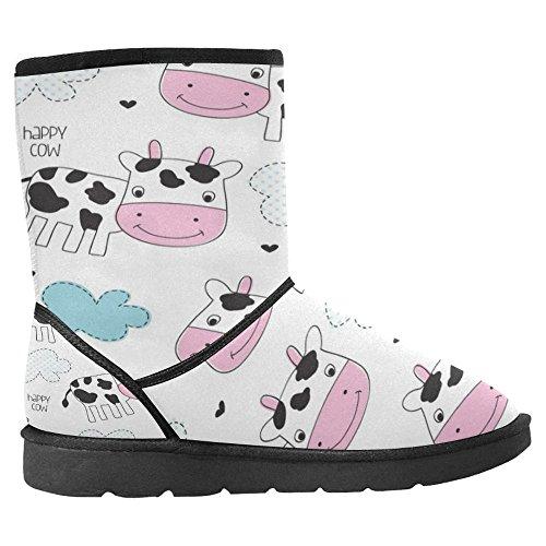 Snow Stivali Da Donna Di Interestprint Design Unico Comfort Invernale Stivali Happy Cow Pattern Multi 1