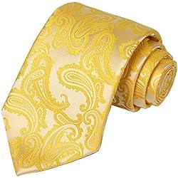 KissTies Lemon Yellow Tie Paisley Wedding Ties Sunflower Necktie