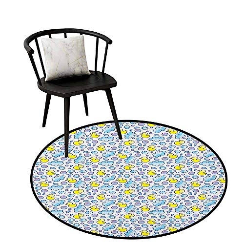 - Dining Room Bedroom Carpet Floor Mat Baby,Washing Time Themed Image with Soap Bubbles Water Droplets Rubber Ducks Pattern, Blue Lilac Yellow,Anti-Skid Area Rug 16