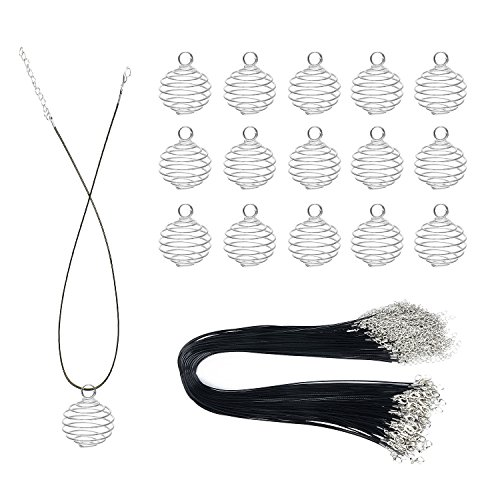 30pcs Silver Plated Spiral Bead Cages Pendants Findings and 30pcs Black Waxed Necklace Cord with Clasp for Pendants Making