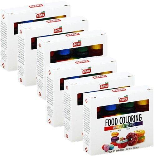 Badia Food Coloring 4 colors 0.3 oz bottels Pack of 6 by Badia