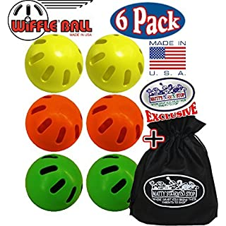 Wiffle Balls Yellow, Green & Orange Official Size Baseballs Matty's Toy Stop Set Bundle with Storage Bag - 6 Pack (2 Yellow, 2 Green & 2 Orange)