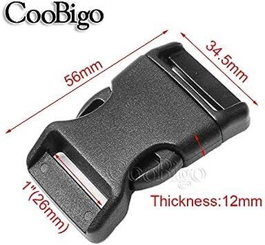 25pcs Pack Black Side Release Buckle Curved 550 Paracord Bracelet Outdoor Backpack Dog Collar Webbing Strap Bag Parts Accessories Webbing Size: 1 25mm