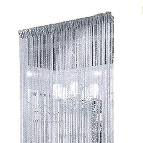 Duosuny 110x110 Inch Door String Curtain Rare Flat Silver Ribbon Thread Fringe Window Panel Room Divider Cute Strip Tassel for Wedding Coffee House Restaurant Party Parts (Silvery-Gray) (Bead Treatments Window)