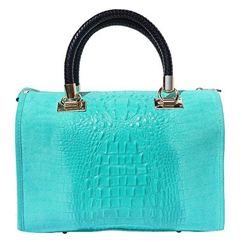 A Mano Pelle Market Colore Borse Emma Scamosciato Con In 7002 Borsa Accessori E Gli Turchese Oro Florence Leather Bauletto qRt4BB