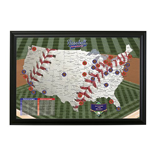 Baseball Adventures Push Pin Travel Map with Black Frame and Pins