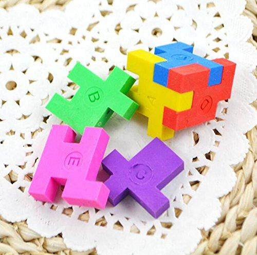 Cube Puzzle Eraser, 3 Styles Mini Colorful Geometric 3D Shape Cube Puzzle Pencil Rubbers Building Blocks Erasers Photo #6