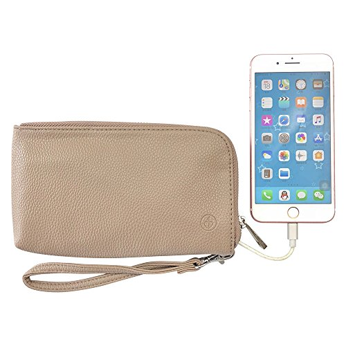 Clutch Purse Charger Wallet Handbag Power 2200mAh Charging Set with Wrist Strap for IPhone Andriod(Brown)