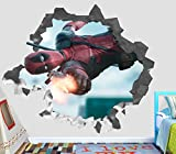 Deadpool Wall Decal Smashed 3D Sticker Vinyl Decor Mural Movie - Broken Wall - 3D Designs - OP305 (Large (Wide 40'' x 36'' Height))