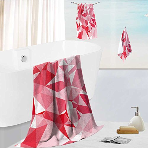 SOCOMIMI Bath towel set Spa 3D Digital Printing red polygonal mosaic background creative design templates Friendly Non Toxic -