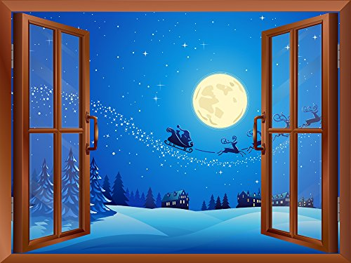Cartoon Santa Claus and Reindeers at Full Moon Night Peel and Stick Removable Window View Wall Sticker Wall Mural