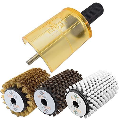 RaceWax Ski Rotobrush Kit Axle-Shield Nylon Horsehair Brass Brushes