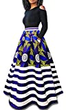 lexiart 2 Piece Dresses Vintage Flared Flowy 2018 Spring Summer Blue Gold Stripe 2XL