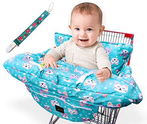 YASMIN BOX Shopping Cart Covers for Baby - High Chair Cover and Grocery Cart Cover for Baby - Shopping Cart Cover Fits Larger CartsExtra Thick Padding