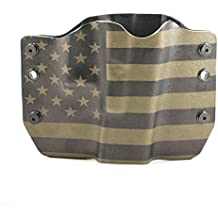 Green & Black USA Flag Kydex OWB holsters for more than 125 different handguns. Left & Right versions plus Speed Clips available.