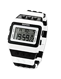 SHHORS White Black Waterproof Block Quartz Digital LED Stopwatch Sport Rubber Watch LED095