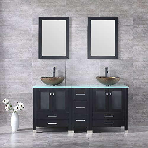 Double Ceramic Sink - Walcut 60Inch Black Bathroom Vanity Cabinet with Double Glass Vessel Sink and Faucet Combo (Brown 1)