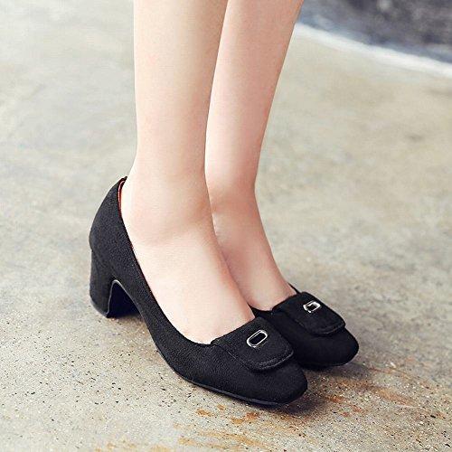 Carolbar Mujer Square Toe Cuff Fashion Date Party Chunky Mediados De Talón Bombas Zapatos De Vestir Negro