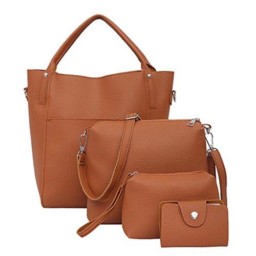 FitfulVan Clearance! Hot sale! Bags, FitfulVan omen Four Set Handbag Shoulder Bags Four Pieces Tote Bag Crossbody Wallet (Brown)