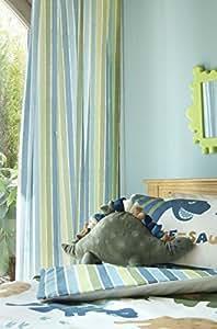 Catherine Lansfield Kids - Cortinas (168 x 183 cm), diseño a rayas, color verde y azul