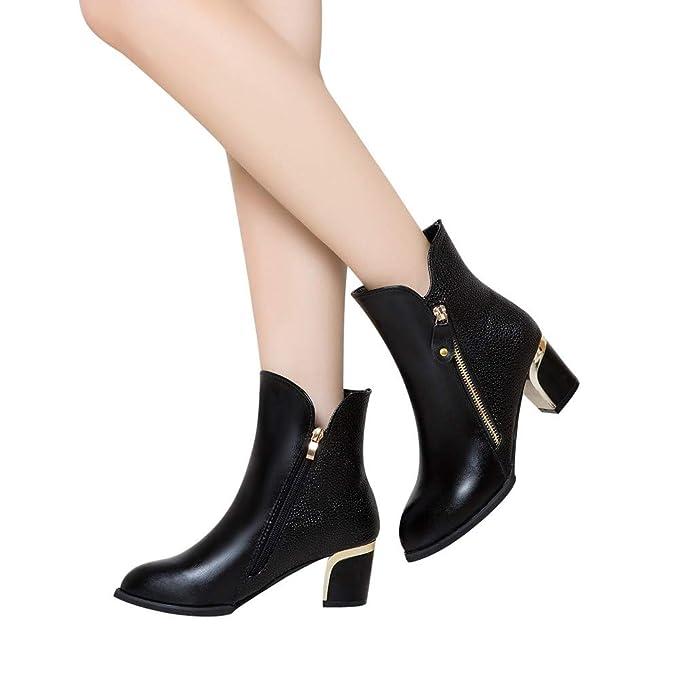 Moda Zapatos por JiaMeng Mujeres de Cuña Bare Boots Thick Heel Pumps Inglaterra Boots Calzado de Mujer: Amazon.es: Ropa y accesorios