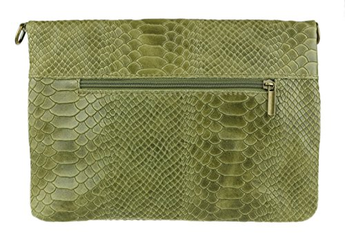 De Estampado Bolsos De Plegada Luz Verde Femeninos Gamuza Embrague Italiano Serpiente Bolsa qqRaX