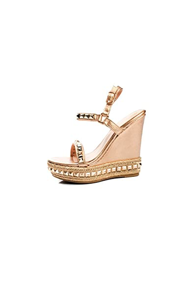 c91462ccd Ikrush Womens Valentine Studded Strap Wedges Rose Gold  Amazon.co.uk  Shoes    Bags