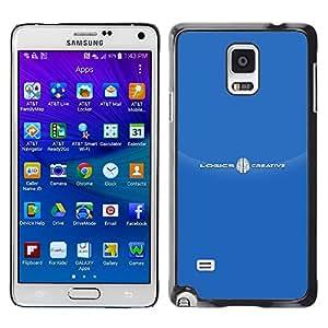 TopCaseStore / la caja del caucho duro de la cubierta de protección de la piel - Brand White Text Logo - Samsung Galaxy Note 4 SM-N910