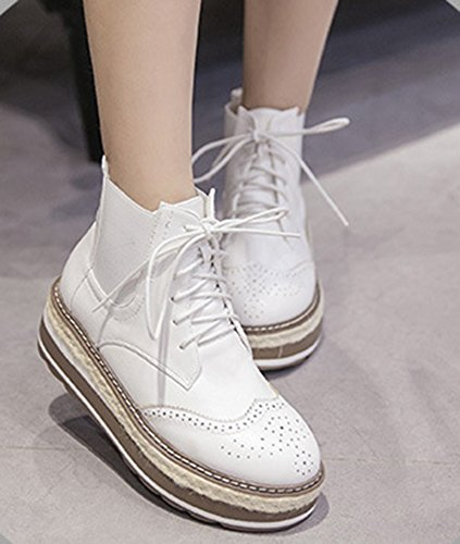 Boots Ankle Short Wedge Oxfords Lace Heels Womens White IDIFU Up Platform Sweet Mid pq6xPS