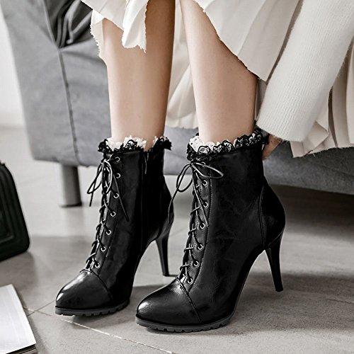 Carolbar Women's Elegant Fashion Lace High Heel Zip Short Boots Black c41pU