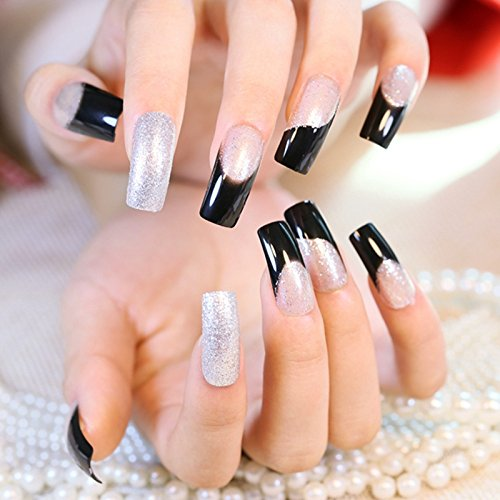 Shimmer Pure Silver Glitter French Nails Clear Spirit Flat Medium Acrylic Press On Nails Full Wraps Including Glue Sticker Z396