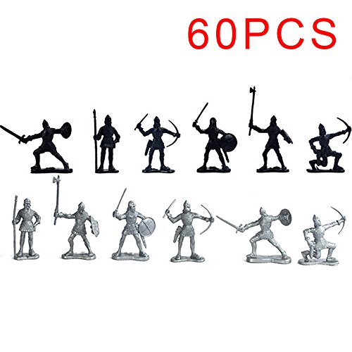 (CZXC 60pcs Set Medieval Knights Warriors Kids Toy Soldiers Figure Models Black Silver)