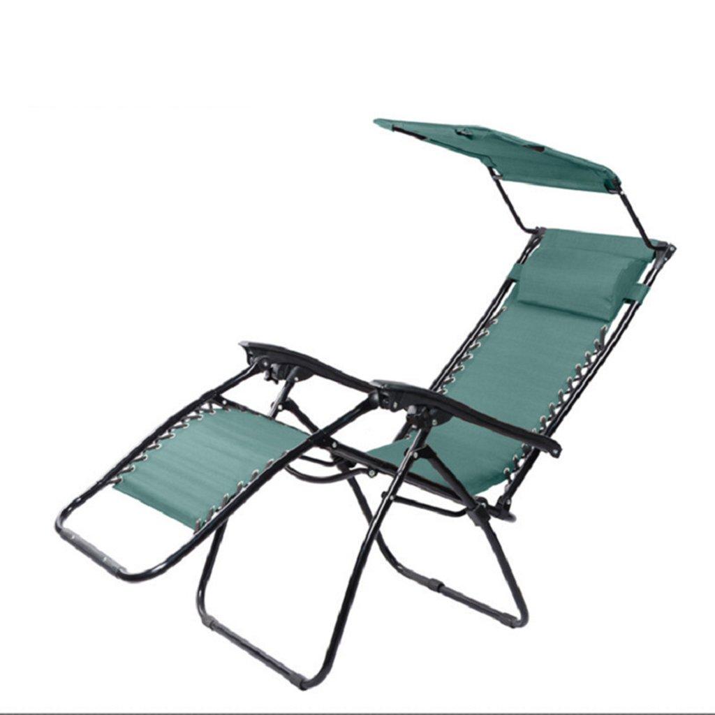 大人のための日陰の釣り席ビーチ屋外狩猟キャンプポータブルラウンジ折りたたみチェア、ホールド120kg、 (色 : 緑) B07D36Q8V2 緑 緑
