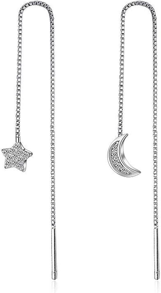 Pendientes largos de cristal con diseño de luna y estrella, para mujer, con borla asimétrica