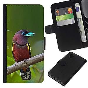 KLONGSHOP // Tirón de la caja Cartera de cuero con ranuras para tarjetas - Madagascar pájaro tropical ornitología verde - LG Nexus 5 D820 D821 //