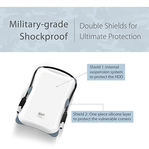 Silicon Power 2TB Type C External Hard Drive USB 3.0 Rugged Armor A30 Military-Grade Shockproof, Dual Cables Included  (Type C to Type A & Type A to Type A), White by Silicon Power (Image #2)