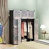KOUSI Portable Closet Clothes Wardrobe Bedroom Armoire Storage Organizer with Doors, Capacious & Sturdy, Black, 6 Cubes+2 Hanging Sections
