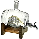 Bourbon Barrel Whiskey Decanter With Ship - 1000ml Liquor Dispenser - Sailing/Boating Gifts for Men and Women, Nautical Decor Retirement Gift (Tomoka Gold)